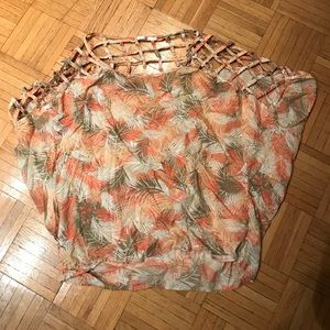 LF oversized floral coverup one size